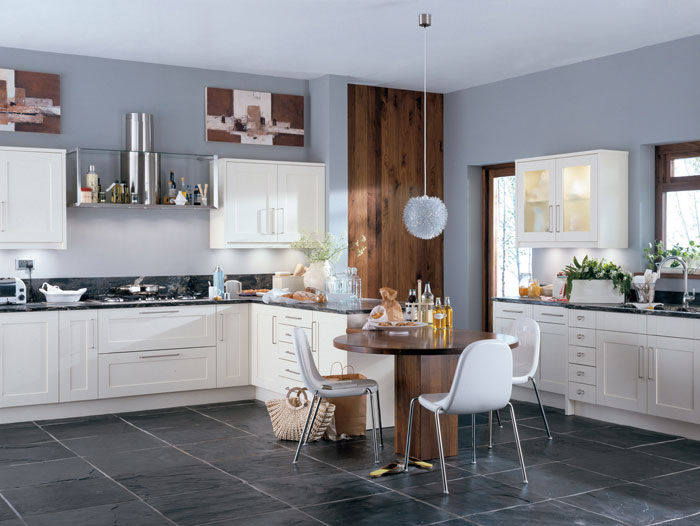 Scope S Shaker Design Has The Flexibility To Create A Modern Or Traditional Kitchen In Ivory Shown Here Warm Walnut